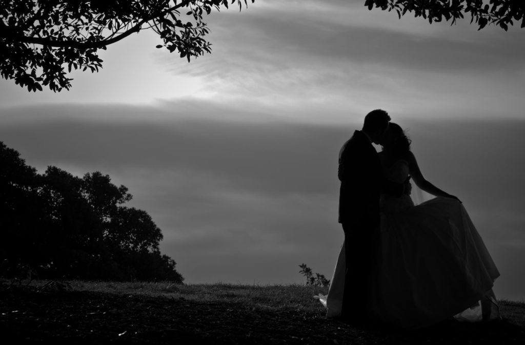 bride and groom silhoutte kiss under tree