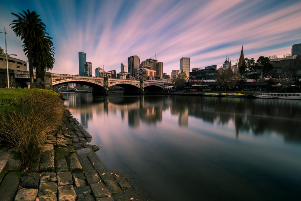 melbourne city and yarra river at sunrise
