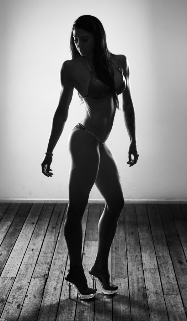 Black and white fintess model silhouette