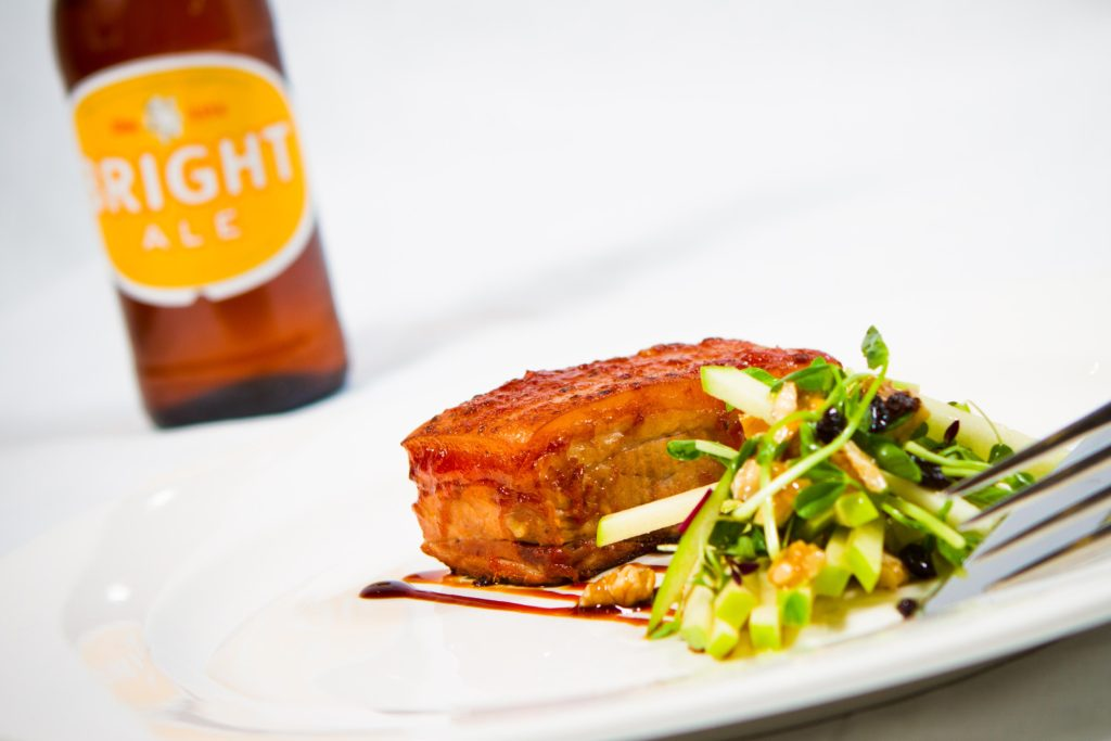 pork belly salad and beer dinner