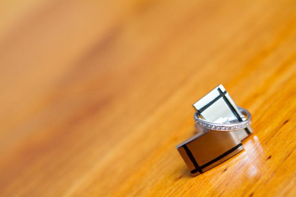 wedding ring and cufflinks