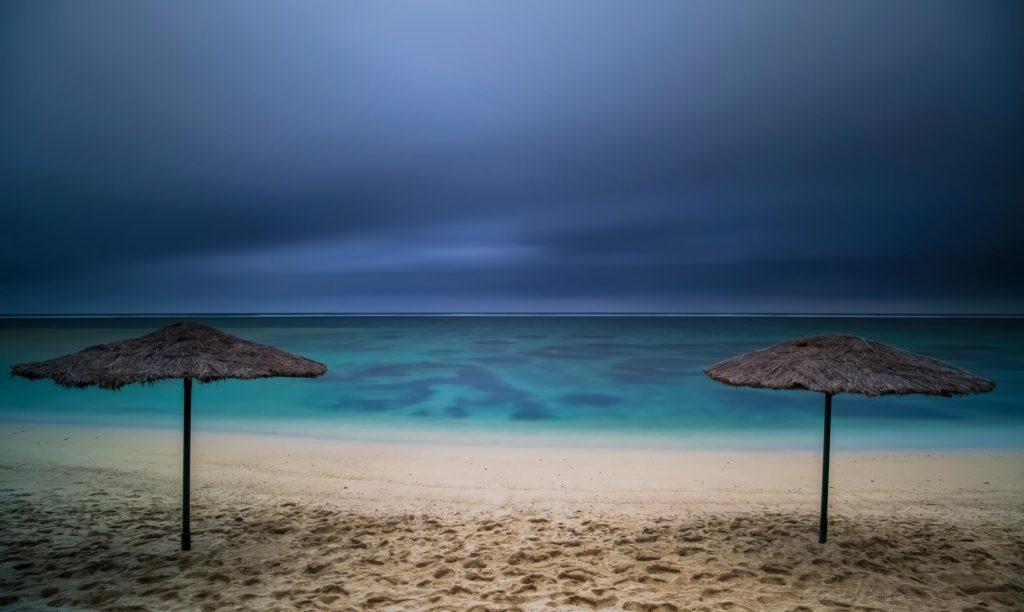 stormy fiji beach skies