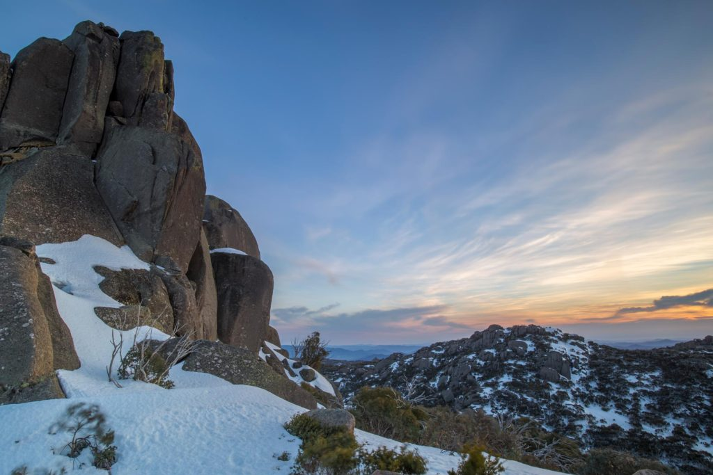 mount buffalo covered in snow
