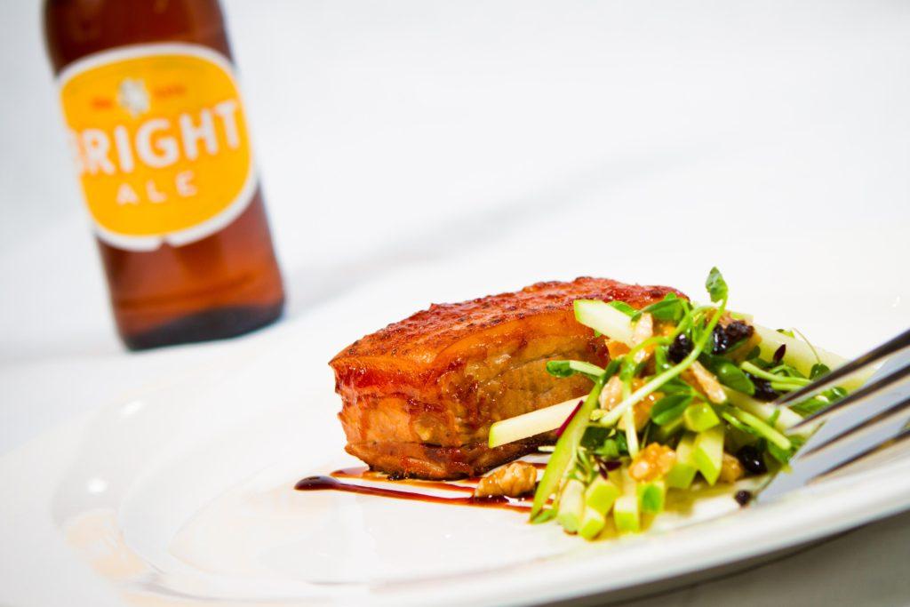 pork belly salad and beer dinner